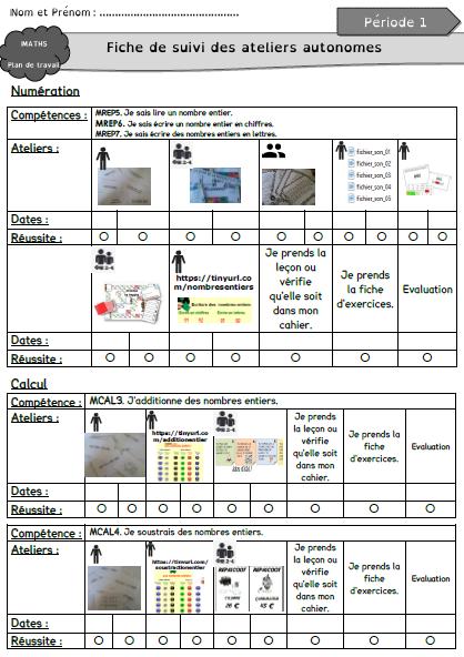 Mathématiques - Plan de travail période 1 - cycle 3/Segpa ...